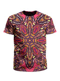 Men's pink, purple, orange & yellow mandala unisex t-shirt front view.