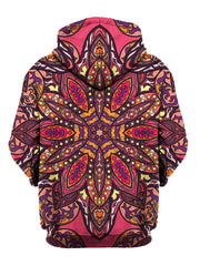 Rear of pink, purple, orange & yellow flower mandala zip-up hoody.