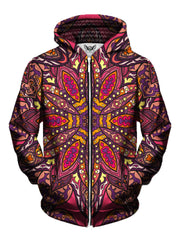 Men's pink, purple, orange & yellow retro flower mandala zip-up hoodie front view.