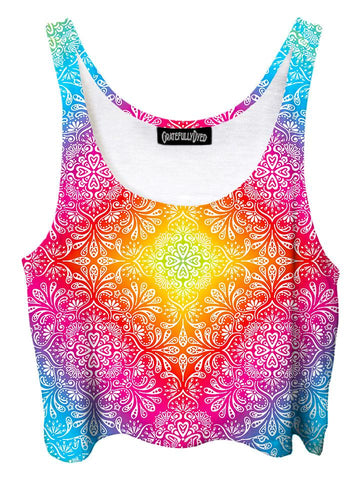 Trippy front view of GratefullyDyed Apparel rainbow paisley mandala crop top.