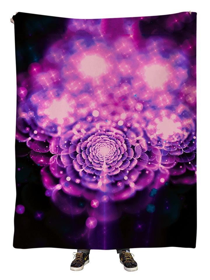 Hanging view of all over print pink & black flower galaxy blanket by GratefullyDyed Apparel.