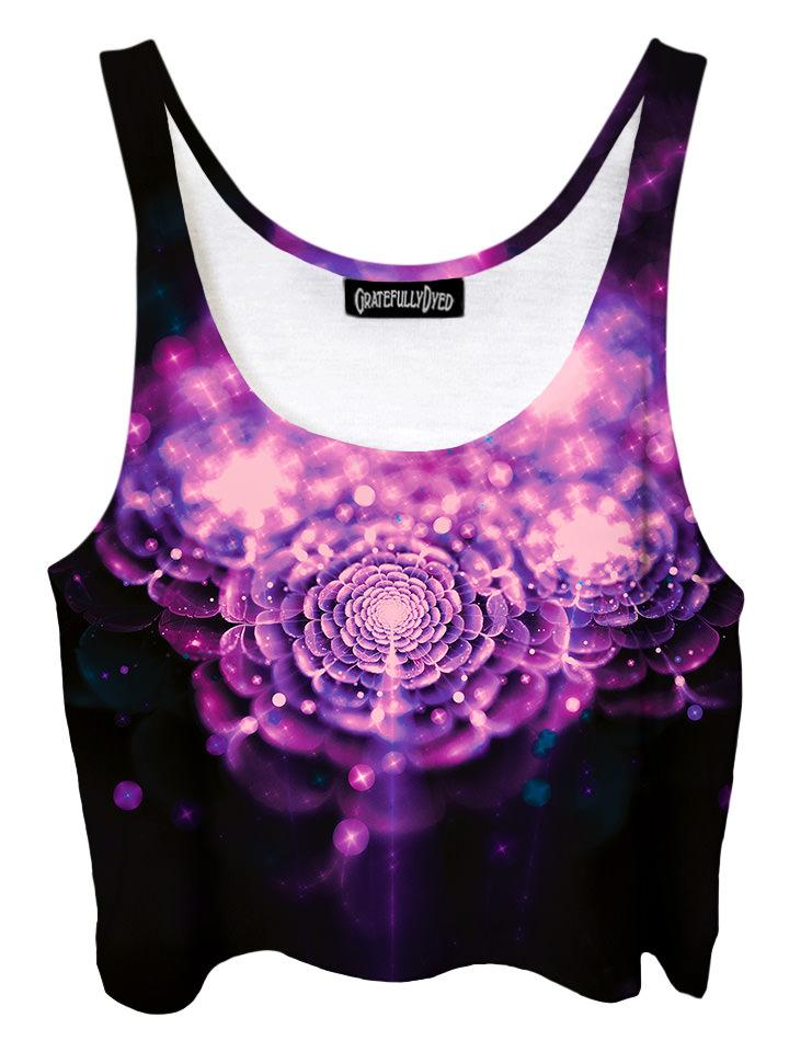 Trippy front view of GratefullyDyed Apparel pink & black flower fairy galaxy crop top.