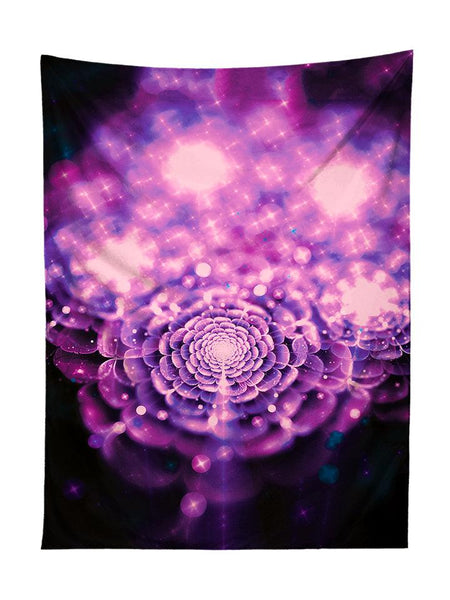 Vertical hanging view of all over print pink & black flower fairy galaxy tapestry by GratefullyDyed Apparel.