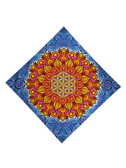Trippy Gratefully Dyed Apparel blue & orange flower of life bandana flat view.