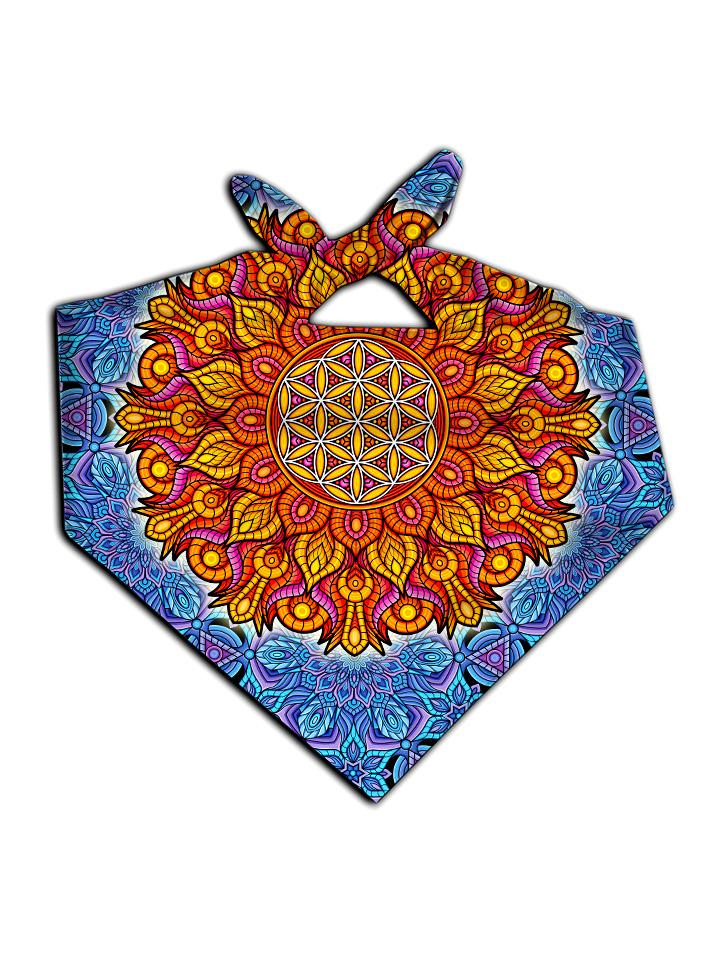 All over print blue & orange flower of life bandana by GratefullyDyed Apparel tied neck scarf view.