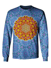 Front view of GratefullyDyed Apparel blue & orange flower of life mandala unisex long sleeve.