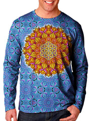 model wearing gratefully dyed apparel flower of life mandala unisex long sleeve front view.