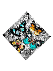 Trippy Gratefully Dyed Apparel black, white, blue & orange floral butterfly bandana flat view.