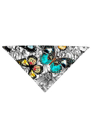 Diagonally folded psychedelic flower insect printed headband.