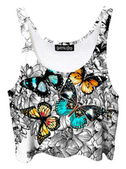 Trippy front view of GratefullyDyed Apparel black, white, orange & blue floral butterfly crop top.
