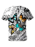 Back view of all over print psychedelic floral insect t shirt by Gratefully Dyed Apparel.