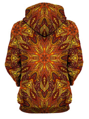 Rear of women's all over print orange psychedelic mandala hoody.