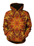 Men's orange fire mandala pullover hoodie front view.