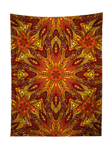 Vertical hanging view of all over print red, orange & yellow mandala tapestry by GratefullyDyed Apparel.