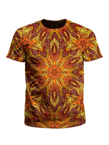 Men's red, orange & yellow mandala unisex t-shirt front view.