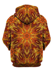 Rear of trippy red, orange & yellow fire mandala zip-up hoody.
