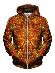 Men's red, orange & yellow fire mandala zip-up hoodie front view.
