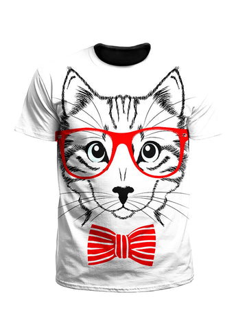 Four Eyes Bow Tie Kitty Cat Unisex T-Shirt