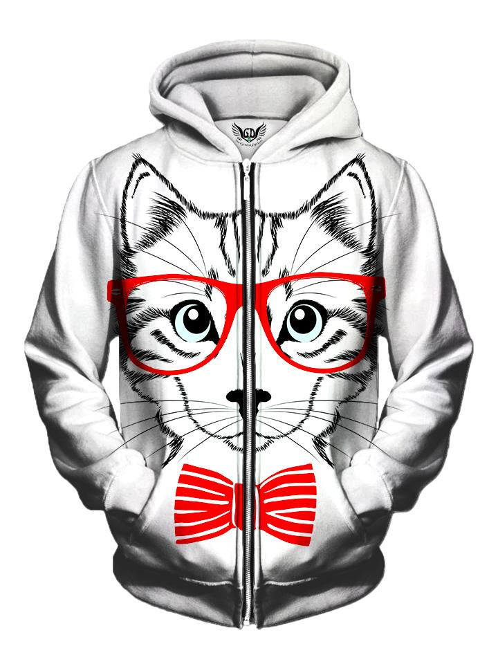 Men's white kitty cat with red bow tie & glasses zip-up hoodie front view.