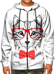 Model wearing GratefullyDyed Apparel white kitty cat with red bow tie & glasses zip-up hoodie.