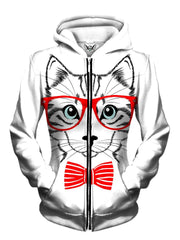 Front view of women's all over print animal art zip up hoody by Gratefully Dyed Apparel.