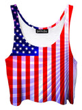 Trippy front view of GratefullyDyed Apparel red, white & blue american flag fractal crop top.