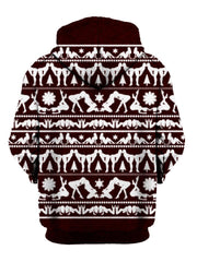 Naughty Maroon Christmas Pullover Hoodie Back View