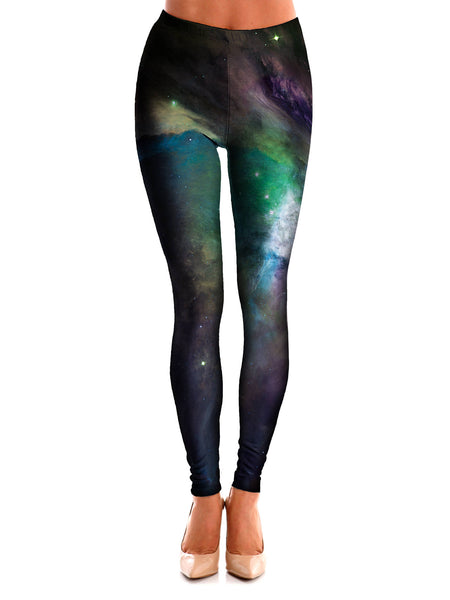 Galactic Green Galaxy Space Leggings - GratefullyDyed - 1