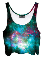 Trippy front view of GratefullyDyed Apparel pink & teal galaxy crop top.