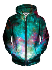Men's teal & pink galaxy zip-up hoodie front view.