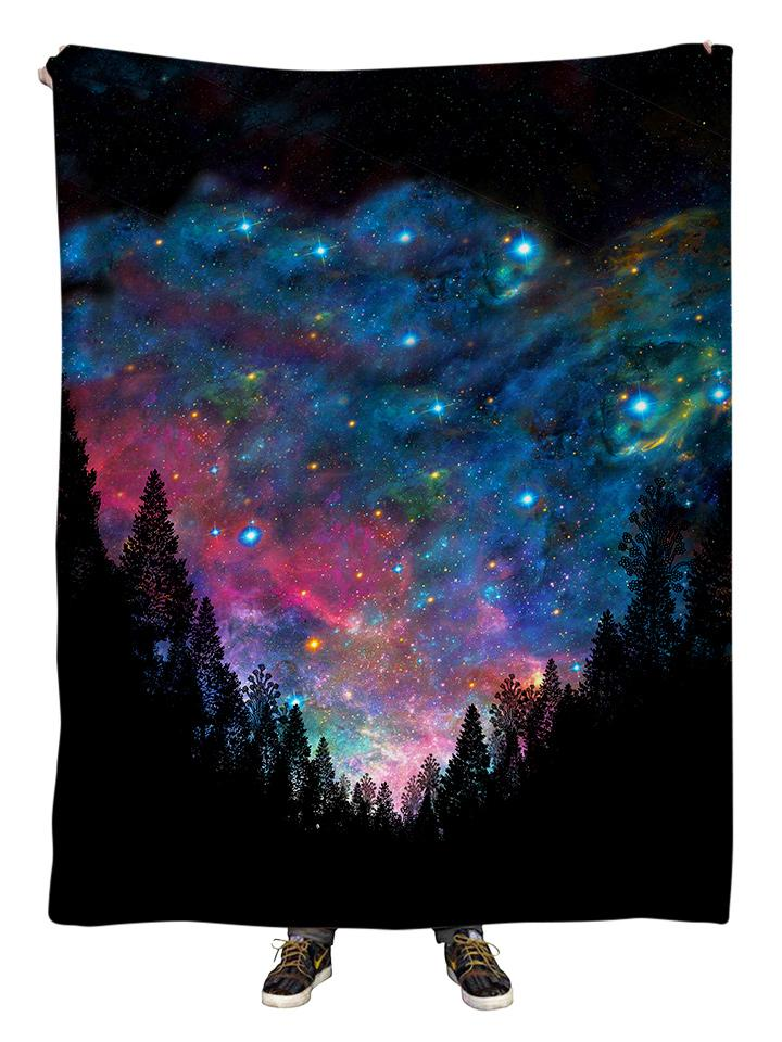Hanging view of all over print rainbow forest galaxy blanket by GratefullyDyed Apparel.