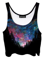 Trippy front view of GratefullyDyed Apparel black & rainbow forest galaxy crop top.