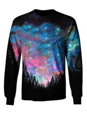 Gratefully Dyed Apparel rainbow forest galaxy unisex long sleeve front view.