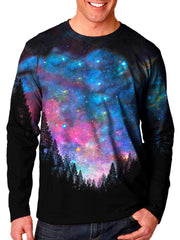 Front view of model wearing Gratefully Dyed Apparel forest galaxy unisex long sleeve.