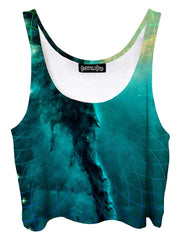 Trippy front view of GratefullyDyed Apparel teal & gold geometric galaxy crop top.