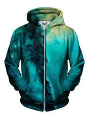 Men's teal & gold sacred geometry galaxy zip-up hoodie front view.