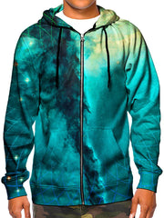 Model wearing GratefullyDyed Apparel psychedelic teal & gold sacred geometry galaxy zip-up hoodie.