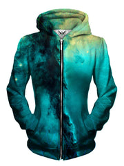 Front view of women's all over print geometric space zip up hoody by Gratefully Dyed Apparel.