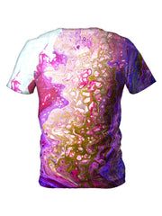 Back view of all over print psychedelic marble painting t shirt by Gratefully Dyed Apparel.