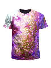 Men's pink, purple & gold marbling unisex t-shirt front view.
