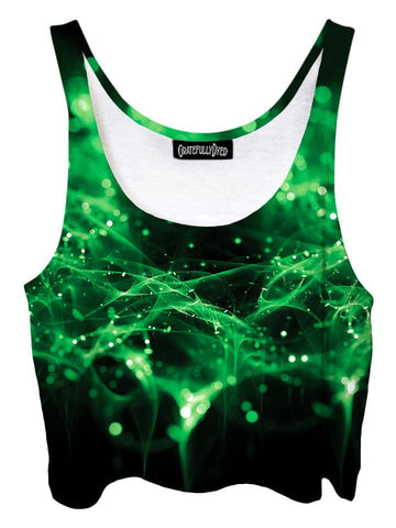 Trippy front view of GratefullyDyed Apparel green & black spirits galaxy crop top.