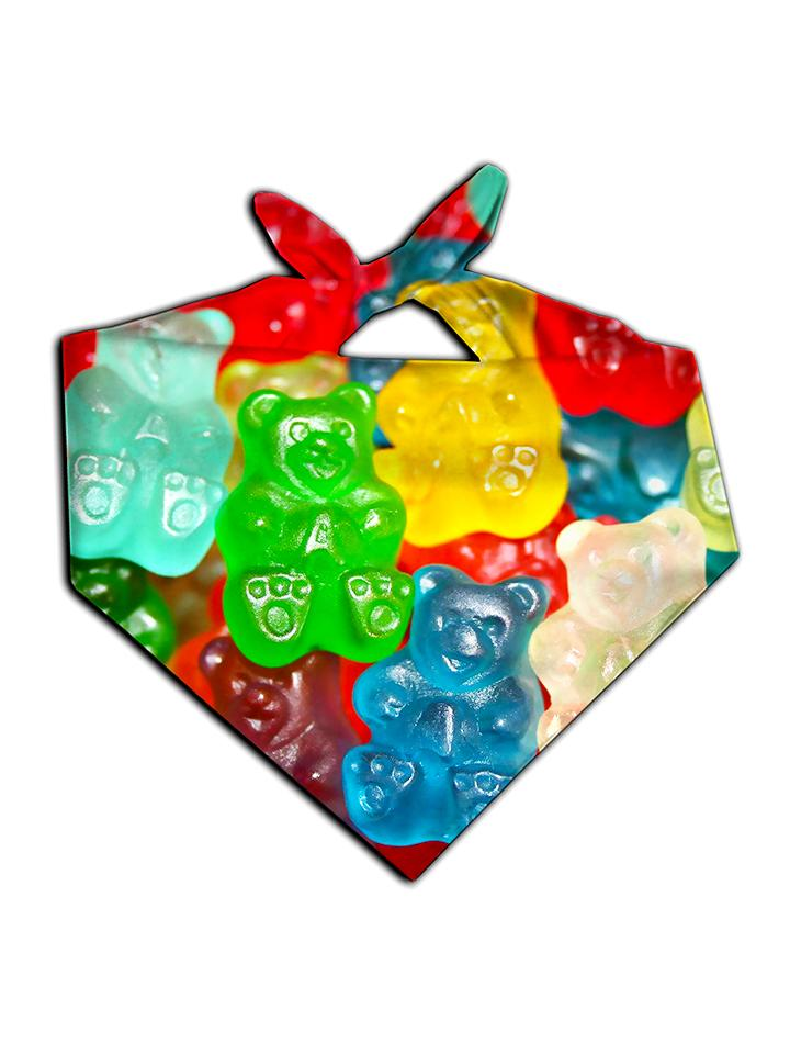 All over print rainbow gummy bears bandana by GratefullyDyed Apparel tied neck scarf view.