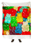 Hanging view of all over print rainbow gummy bears blanket by GratefullyDyed Apparel.