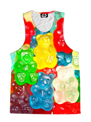 Front view of trippy rainbow gummy bears unisex tank.