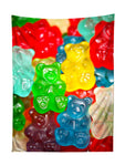 Vertical hanging view of all over print rainbow gummy bears tapestry by GratefullyDyed Apparel.