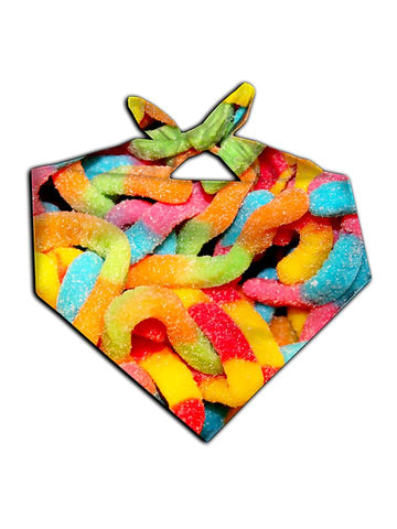 All over print rainbow gummy worms bandana by GratefullyDyed Apparel tied neck scarf view.