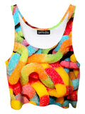 Trippy front view of GratefullyDyed Apparel rainbow gummy worms crop top.