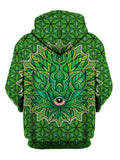 Green stoner leaf zip up hoodie all over print back view