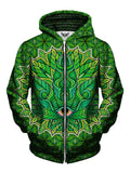 Green stoner leaf zip up hoodie front view