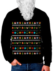 Model In Cute Emoji Christmas Sweater Front View